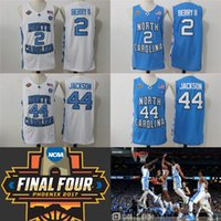 Wholesale North Blue - North Carolina Tar Heels Final Four Phoenix 2017 Championship 2 Joel Berry II 44 Justin Jackson College Basketball Jerseys White Blue