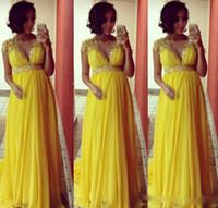 Wholesale Winter Soiree Dresses - Robe De Soiree Nouveaute Yellow Bridesmaid Dresses for Pregnant Women Cap Sleeve lace chiffon Wedding Guest Dress