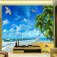 Wholesale Starfish Bedroom - Free Shipping 3D Stereo Custom Seaside Landscape Starfish TV Studio Backdrop Living Room Bedroom Wallpaper Mural