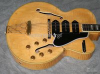 Wholesale guitar tailpiece bridge - Custom Blonde Natural Flame Maple Top Hollow Body 5 Switchmaster Archtop Electric Guitars 3 Black P90 Pickups Trapeze Tailpiece Bridge