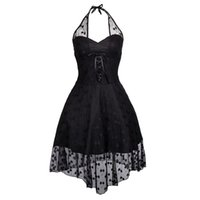 Женская мода без рукавов Хэллоуин Burlesuqe Vintage Black Lace Polka Dots High Low Halterneck Steampunk Dancing Dress