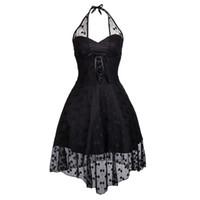 ingrosso abito nero da ballo in pizzo-Vestito da ballo di Steampunk di Halterneck basso di Polka del merletto nero dell'annata di modo delle donne senza maniche di Halloween