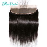 rosa saç kapatma toptan satış-Sloveny Rosa Dantel Frontal Kapatma Düz Brezilyalı Remy Saç 13x4 Kulağa Ağartılmış Knot Ile Bebek Saç Ön Koparıp Hairline