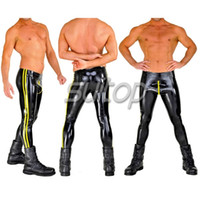 Wholesale leggings zip - Wholesale- Suitop 0.4mm latex rubber glued leggings with front zip pants trousers