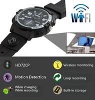 montre mini hd dv achat en gros de-HD 720P P2P Wifi caméra surveillance Mini caméra IP vision nocturne activé par le mouvement enregistreur vidéo Montre Mini DV Caméscope Caméra de sécurité à domicile