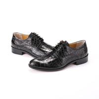 Wholesale Shoe Welt - Large size EUR45 Serpentine Black   Brown GOODYEAR WELT shoes mens dress shoes genuine leather business shoes mens wedding
