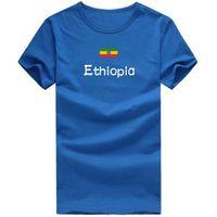 Wholesale Boxing T Shirts - Ethiopia T shirt Boxing sport short sleeve Cheer squad tees Nation flag clothing Unisex cotton Tshirt