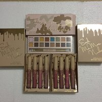 Wholesale Blue Lipsticks - Top quality !! Kylie Take me love on Vacation Eyeshadow palette & lipstick 4pcs kit lipstick kit with Brush