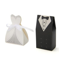 Wholesale Tuxedo Bride Groom Candy - Wholesale- 20 Pcs Tuxedo Dress Groom Bridal Bride Party Wedding Favor Gift Ribbon Candy Boxes Casamento