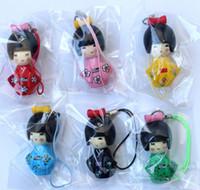 bonecas japonês kokeshi venda por atacado-Quente! 30 pc / 5 conjunto design clássico japonês kokeshi boneca telefone celular cinta charme / telefone celular cintas wholeale