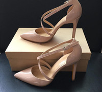 Wholesale Lady Nude High Heel - New Summer Style women's Lace Up Red Bottom high heels Pointed Toe Bandage Stiletto sandals celebrity ladies shoes Pumps