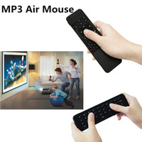 Wholesale Fly Mp3 - 2.4G MP3 Air Mouse IR Mini Wireless Keyboard Fly Air Mouse QWERTY Sensing Remote Learning for S812 S912 S905X MXQ A95X X96 Android TV Box