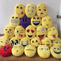 smiley amarillo al por mayor-Emoji poop Almohadas fundas sin relleno Cojín Lovely Emoji Smiley Almohadas Cojines de dibujos animados Amarillo redondo Almohada de felpa B063