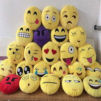 Wholesale cushion covers round - Emoji poop Pillows skins cover without filler Cushion Lovely Emoji Smiley Pillows Cartoon Cushion Pillows Yellow Round Pillow Plush B063