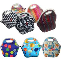 Wholesale handbags colorful patchwork - kids lunch bags 8 styles sun colorful Waterproff children snack bags girls boys food packages top quality children outside handbags