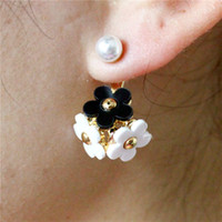 Wholesale Design Earings - 2015 new design fashion brand elegant jewelry double Imitation pearls stud earrings for women Daisy flowers long earings