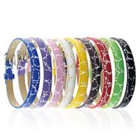 Wholesale wholesale slide bracelet accessories for sale - 8MM PU Leather Metal Wristband watch band Gold stamp flower Bracelets DIY Accessory Fit Slide Letter noosa snap button bracelet