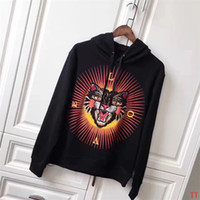 Wholesale Tiger 3d Sweatshirt Men - Men Hot Sale Hooded Sweatshirt With Embroidered Angry Cat Tiger And 3D Printed Effect Sweat Hoodie Pullover Men's Brand Desgin