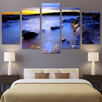 stone vision with best reviews - 5 Pcs Set Framed HD Printed Canvas Prints Sea Coast Stone Vision Painting Picutre Print Home Decor Living Room Poster Wall Arts