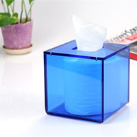 Wholesale Acrylic Tissue Blue Box X126X126MM Home decor use for bathroom bedroom Can Be Customized Any Size And Shape