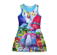 Wholesale Cotton Silk Vest Dress - 2 Color Girls Trolls Princess Dress Children Summer Sleeveless Clothing Baby Princess Dresses Poppy Printting Kids Cartoon Vest Dress