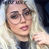 katzenaugen klar rahmen groihandel-ALOZ MICC Hohe Qualität Oversize Frauen Metall Katze Brillen Rahmen Marke Designer Mode Männer Klare Linse Brillen UV400 A150