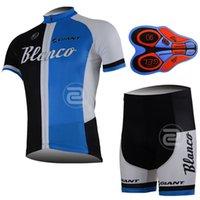 Wholesale Blanco Cycling Jersey Bib Short - New Hot Cycling clothing BLANCO team man cycling jersey (bib)shorts sets Ropa Ciclismo 9D Gel Padded Bike Clothing A113
