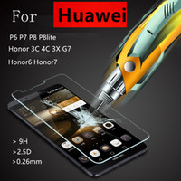 Wholesale Huawei Ascend P6 Screen - Tempered Glass Film Explosion Proof Screen Protector For Huawei P6 P7 P8 lite Honor 6 7 3C 4C 3X Ascend G7 + Cleaning Kit