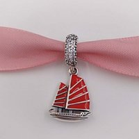 Wholesale Red Chinese Charm - Authentic 925 Sterling Silver Beads Chinese Junk Ship, Red Enamel & Clear Cz Fits European Pandora Style Jewelry Bracelets & Necklace 791908