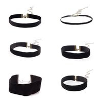Wholesale Wide Choker Necklaces - Fashion Ribbon Chokers Simple Black Clavicle Wide Flannel Cloth Choker Necklace Collar Velvet Short Necklace For Women Punk Style Jewelry
