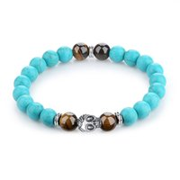 Wholesale Natural Blue Tigers Eye Bracelet - BELAWANG Natural Tiger Eyes&Turquoise Stone Wrist Bracelet Silver Plated Skull Head Blue Color Bead Bracelet Fashion Jewelry Gift Wholesale