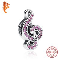 Wholesale Pandora Music Note Charms - BELAWANG 925 Sterling Silver Big Hole Beads European Micro Pink Crystal Music Note Charm Fit Pandora Bracelet&Necklace Jewelry Accessories