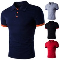 Wholesale Mens Cotton Lapel Shirts - Polo T Shirt Fashion Stripe Lapel Mens Casual Sports Hit Color Cotton Short Sleeves Summer Golf Polo T-shirts US Size:XS-L