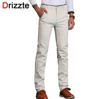 Wholesale Business Trousers - Wholesale- Drizzte Mens Stretch Casual Dress Pants Classic Quality Business Trousers White Beige Black Blue Size 30 31 32 33 34 36 38