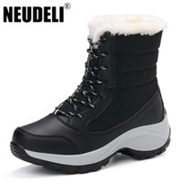 Wholesale Shoes Warm Very - Wholesale- NEUDELI 2016 New High Quality Winter women boots Thick fur very warm ladies snow boots Lace-up female winter shoes