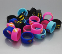 Wholesale Ecig Mod Free Shipping - Ecig Vape Band Silicone Rings with Superman Batman Flash Captain America Logo Colorful Rubber Rings fit RDA RTA Atomizer Mods FREE SHIPPING