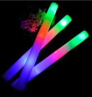 köpük sopa toptan satış-LED Köpük Sopa Renkli Yanıp Sönen Batons Kırmızı Yeşil Mavi Işık Up Sopa Festivali Parti Dekorasyon Konser Prop