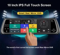 """Wholesale Network Dvr Card - Hopeshine 10"""" Full Touch IPS Car DVR Camera Rearview Mirror Android 5.1 4G Network Video Recorder GPS Navigation Dual Lens Automobile WIFI"""