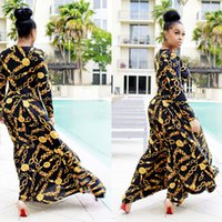 Wholesale Womens Long Maxi Dresses - 2017 Spring Womens Maxi Dress Traditional African Print Long Dress Dashiki Elastic Elegant Bodycon Vintage Chain Printed Plus size Dresses