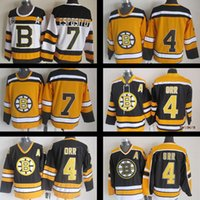Wholesale Cheap Stitched Nhl Jerseys - cheap men's #4 Bobby Orr 1970's Throwback nhl hockey jersey #7 Phil Esposito 100% Stitched Black CCM Ice vintage hockey jerseys