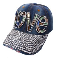 Wholesale Rivet Hats Cap - hot sale fashion hip hop letter love colorful stone diamond crystal Rivets denim men woman adjustable baseball ball caps summer hat