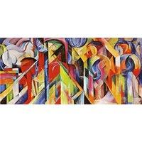 ingrosso riproduzioni d'arte-Franz Marc artwork Riproduzione Scuderia pittura a olio su tela Decorazione murale fatta a mano di alta qualità