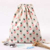Wholesale Linen Fabric Material - Women's Shoulder Pineapple Prints Bags Canvas Drawstring Backpacks Strap Student Backpacks Cottom Material 2017 New Style Wholesale