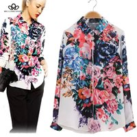 Regular blossom blouse - 2016 spring summer long sleeve big floral blossom printed women s causal chiffon blouse shirt