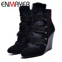 Wholesale Wedge Ankle Winter Booties - Wholesale- ANMAIRON Women Boots Free Shipping Snow Ankle Boots for Women Pointed Toe Horse Hair Wedges Booties Leather Suede Buckle Shoes