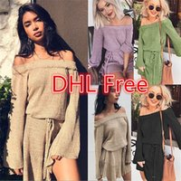 Wholesale Vintage Women S Sweaters - Sexy Off Shoulder Knitting Sweater Dress Women Elegant Ruffle Sash Short Dress Casual Long Sleeve Autumn Winter Dress DHL Free