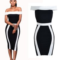 Wholesale Tight Short Evening Dresses - Bodycon Bandage Midi Slash Neck Off The Shoulder Tight Dresses Party Evening Party Club Cocktail Dress Clubwear