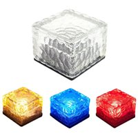 Wholesale Pack of Ice Cube Solar Lights Garden AAA NI MH mA LED Buried Underground Brick Rock Lamp Waterproof IP68 Solar Pathway Lights