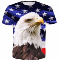 Wholesale America Flag T Shirt - New Fashion Summer Men Women America Flag Eagle Harajuku Style Funny 3d Print Casual T-shirt S-5XL H153