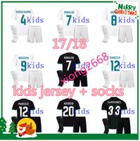 Wholesale White Football Jerseys Kids - 17 18 Real madrid soccer kids Jersey + socks 17 18 white black RONALDO BALE SERGIO RAMOS ISCO MODRIC MARCELO KROOS kids football shirt